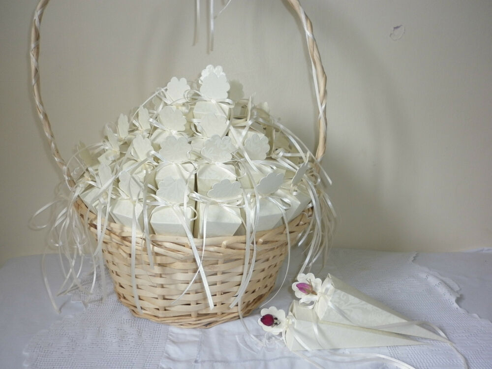 50 Wedding Confetti Cones Dried Rose Petal Confetti And Decorated Basket