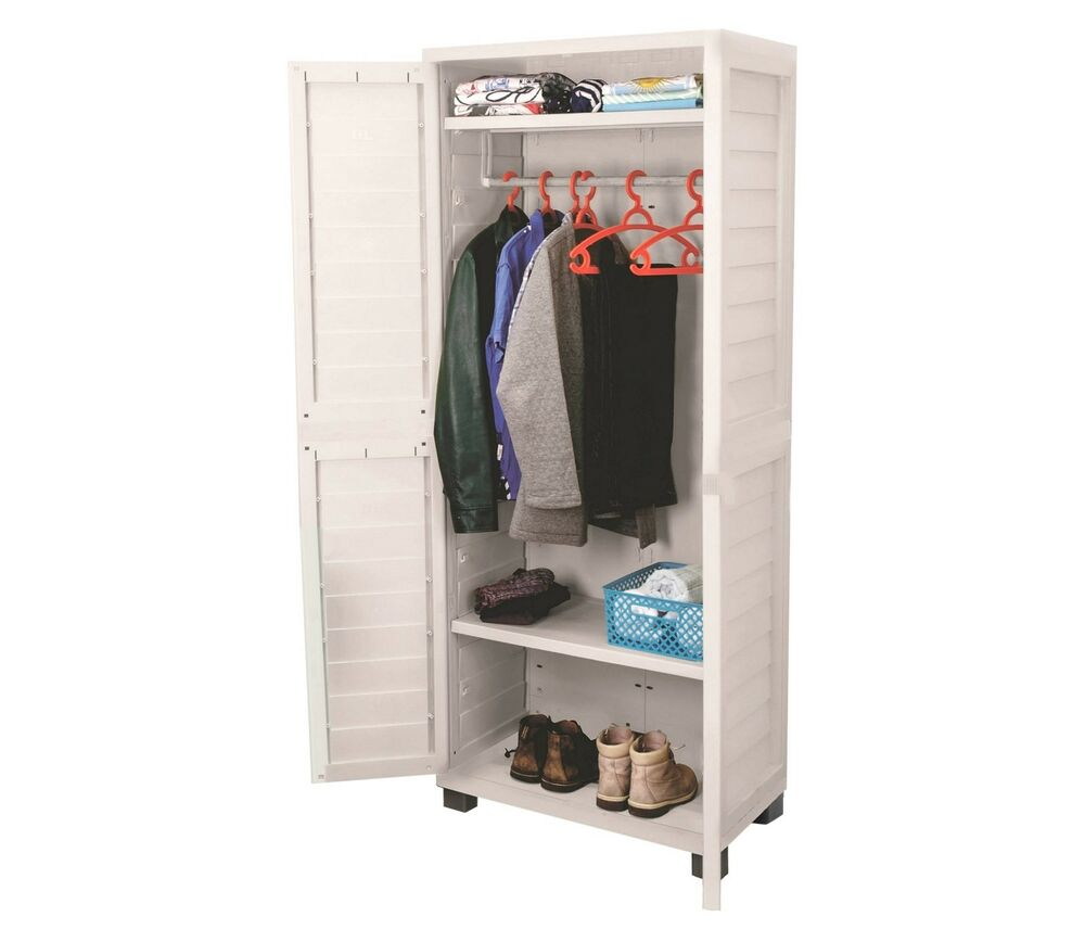 storage unit garage garden plastic utility cabinet tools brushes ebay. Black Bedroom Furniture Sets. Home Design Ideas