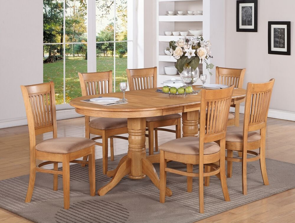 7 pc vancouver oval dinette kitchen dining table w 6 for Kitchen dining table chairs