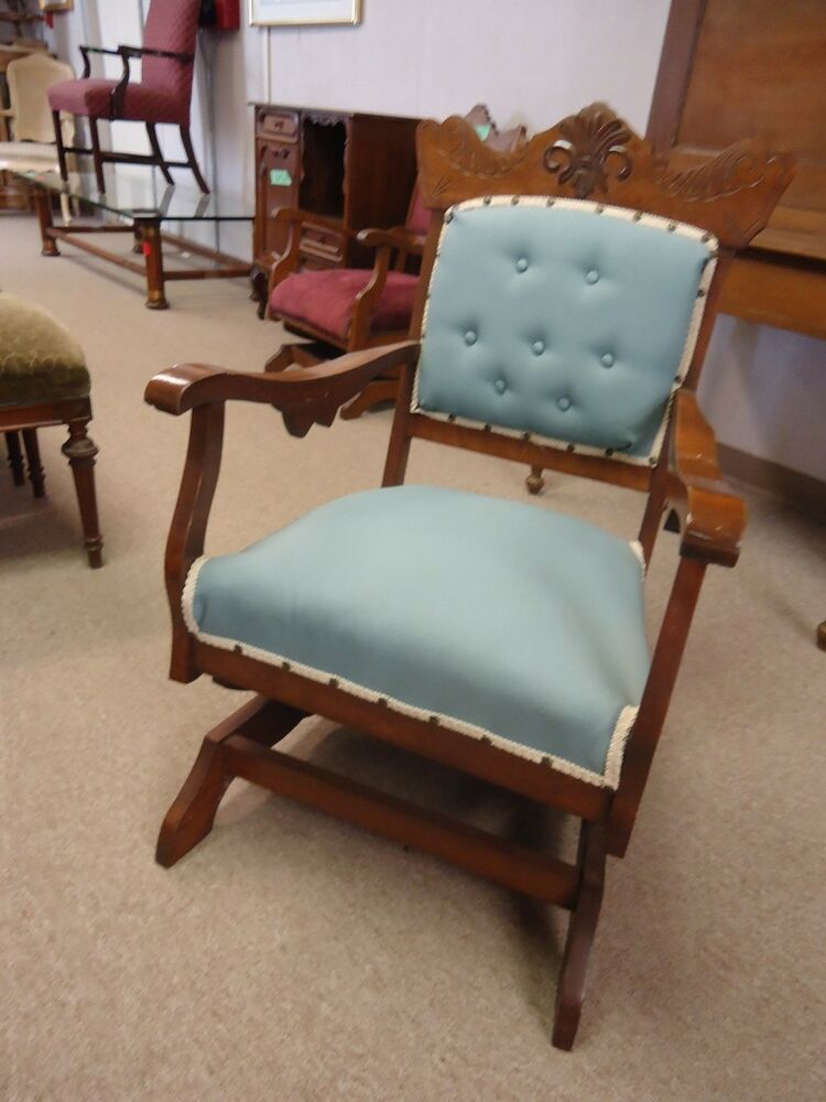 antique rocking chair with blue reupholstered seat and. Black Bedroom Furniture Sets. Home Design Ideas