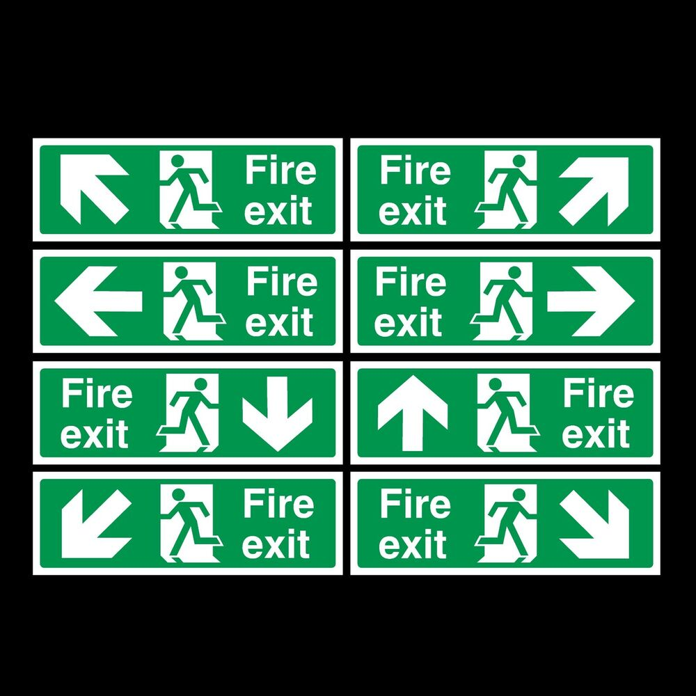 fire exit signs plastic rigid sign 300x100mm cheap ebay. Black Bedroom Furniture Sets. Home Design Ideas