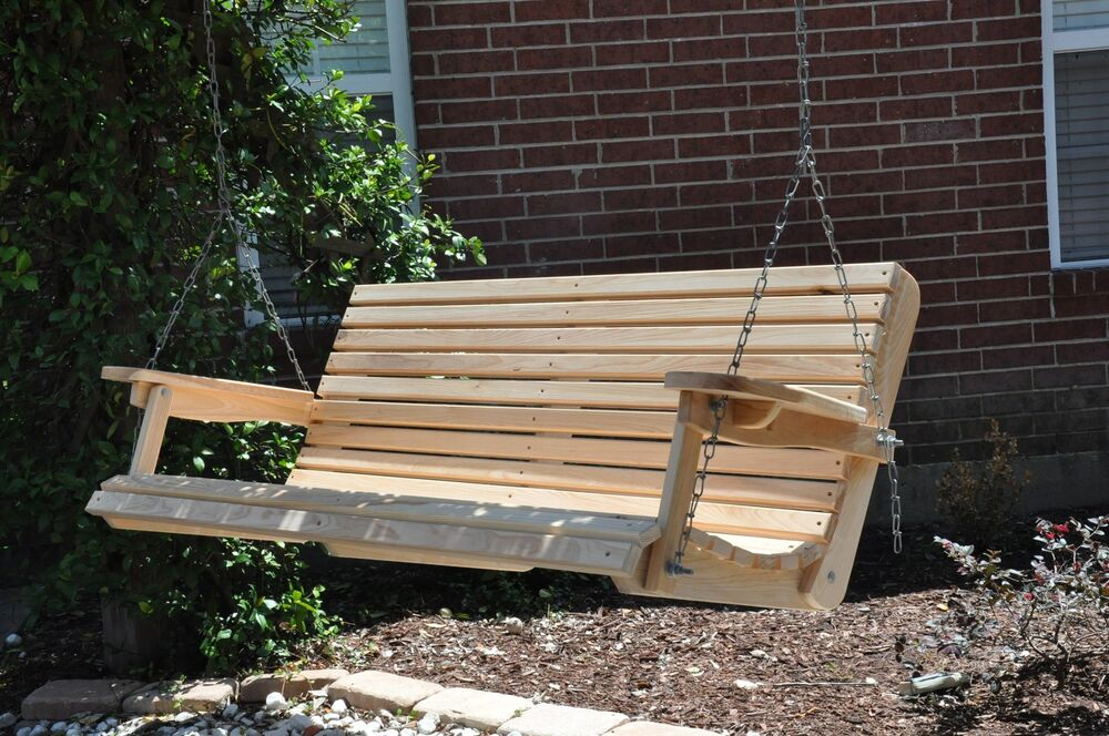 5 Ft. Cypress Porch Swing Wood Wooden Outdoor Furniture | eBay