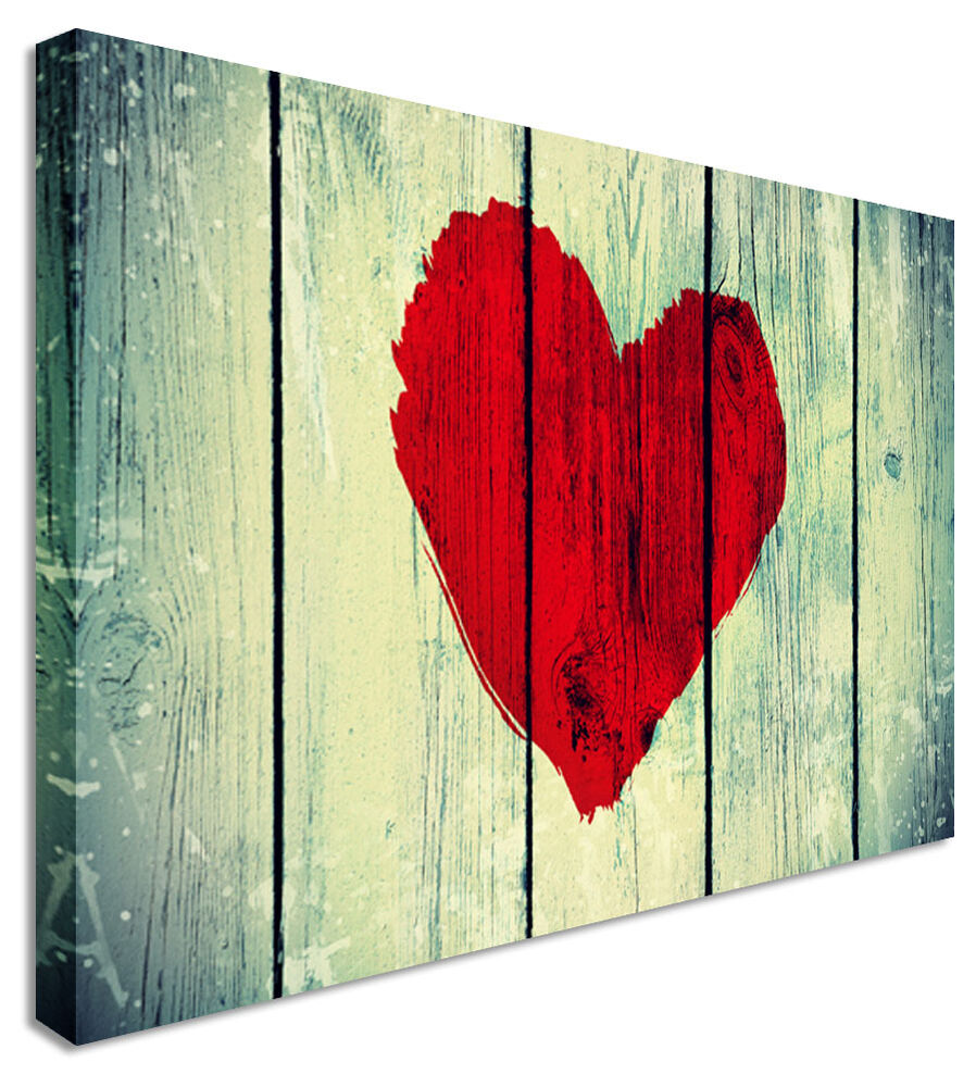 Red Love Wall Decor : Wooden red love heart canvas wall art pictures for home