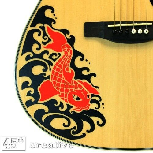 red koi acoustic guitar graphic decal fits full size dreadnought guitar body ebay. Black Bedroom Furniture Sets. Home Design Ideas