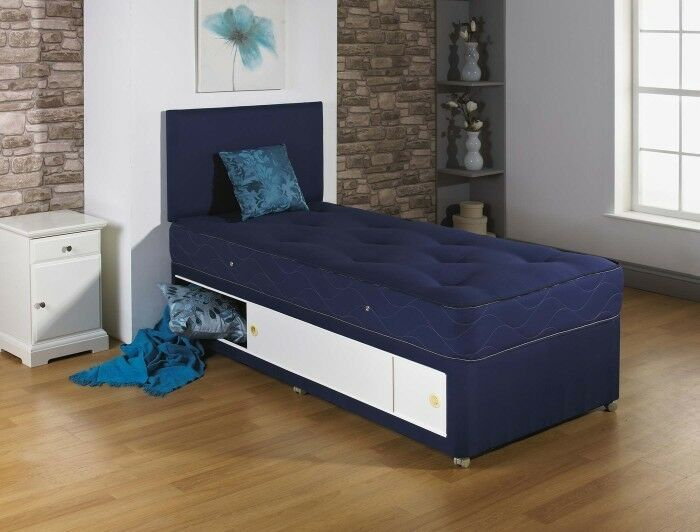 2ft6 3ft Single Tufted Navy Blue Divan Bed With Tufted Mattress Headboard Ebay