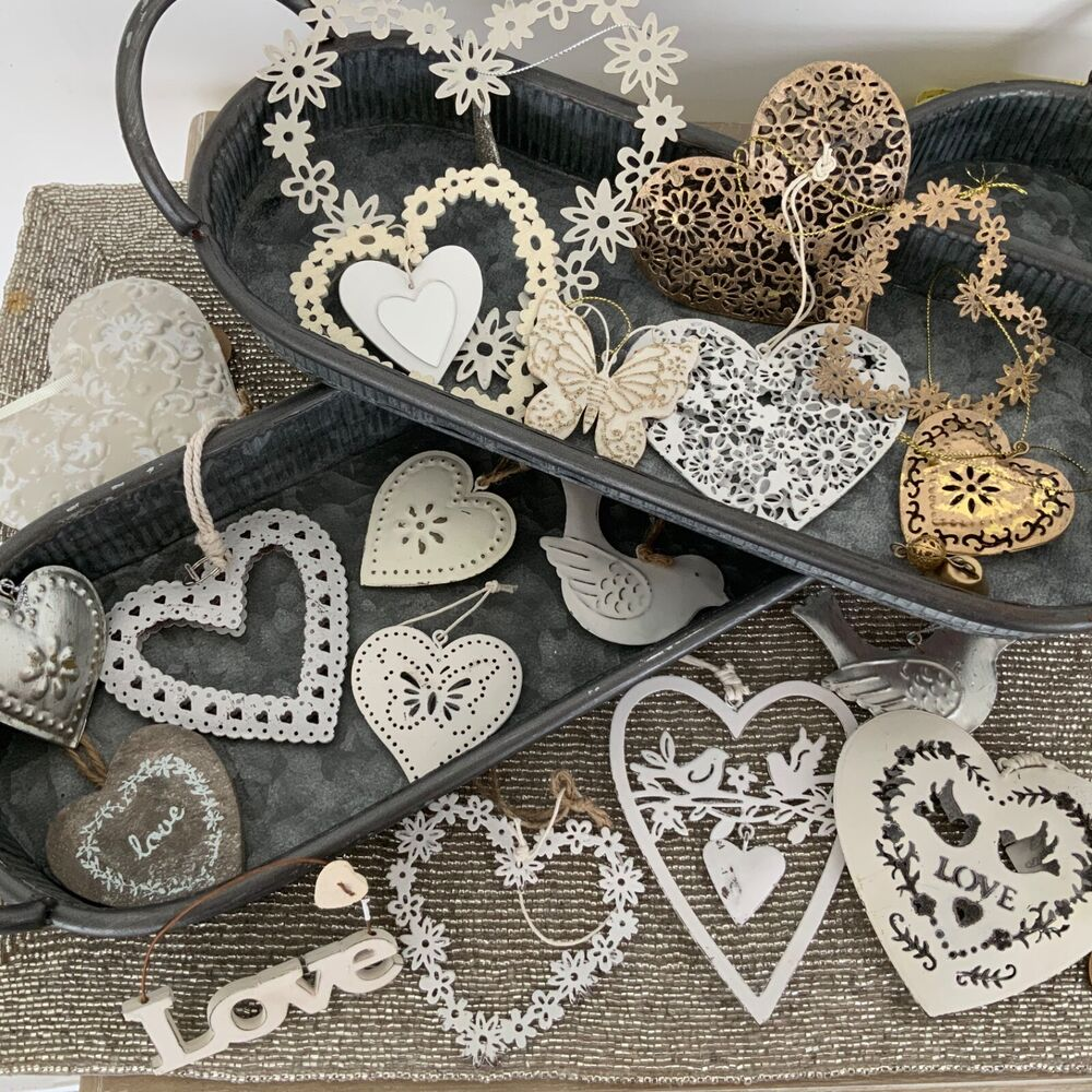 Heart collection vintage chic distressed decorations for Wedding supplies