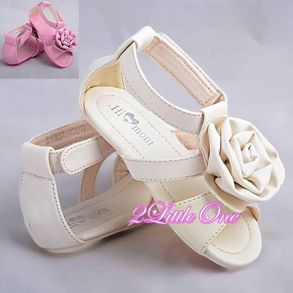 Rosette Sandals Shoes Toddler US Size 6 5 9 Wedding Flower Girl