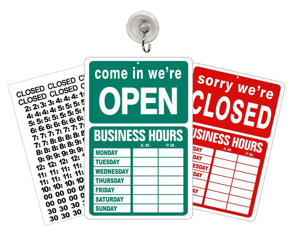 open closed sign with hours store business hours window sign green