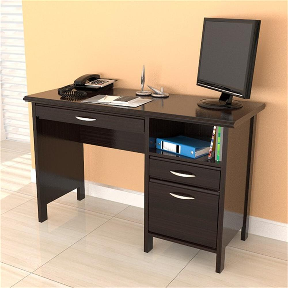 Contemporary Espresso Computer Desk W Drawers File Cabinet
