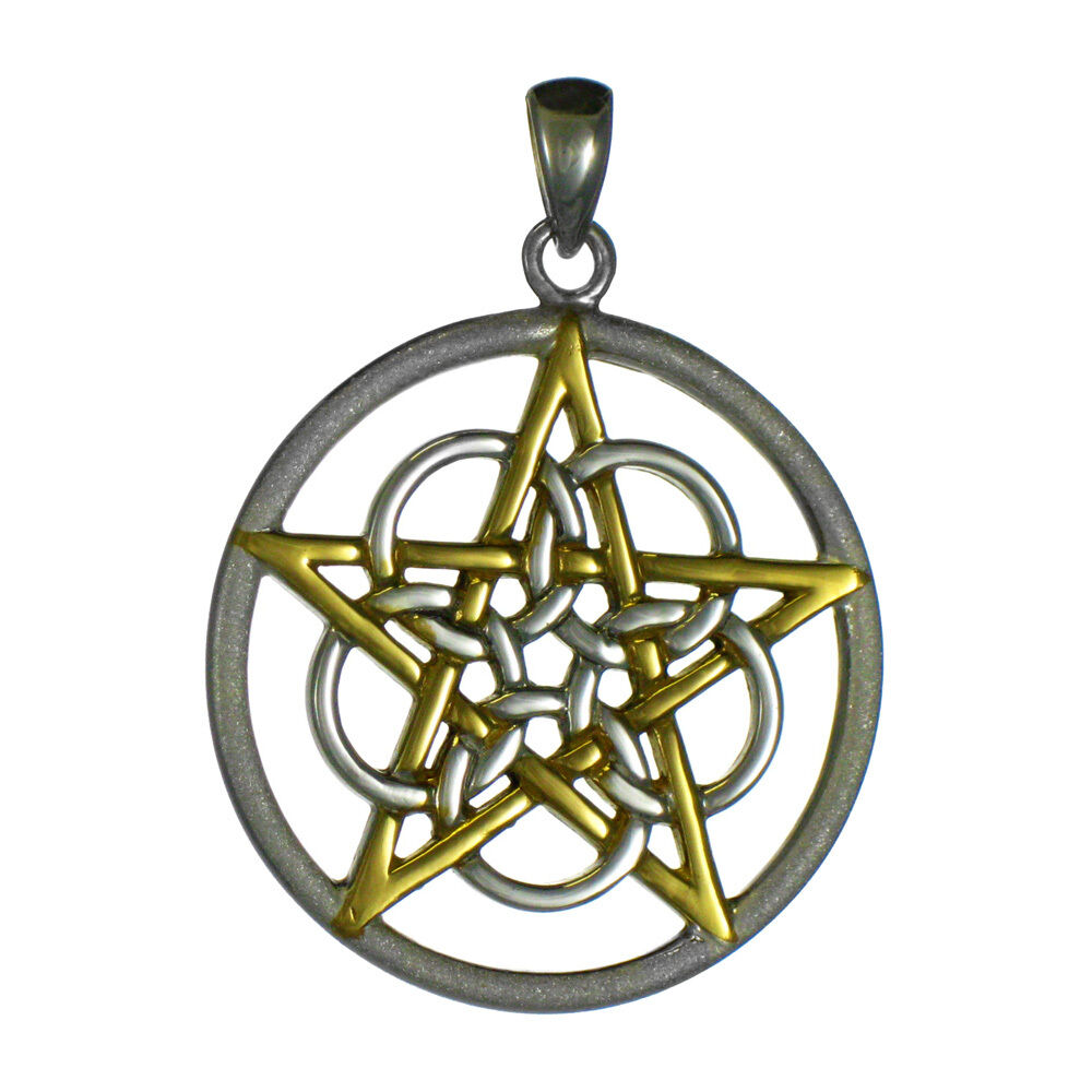 pentagrams jewelry sterling silver five elemental pentacle pendant with gold 3166