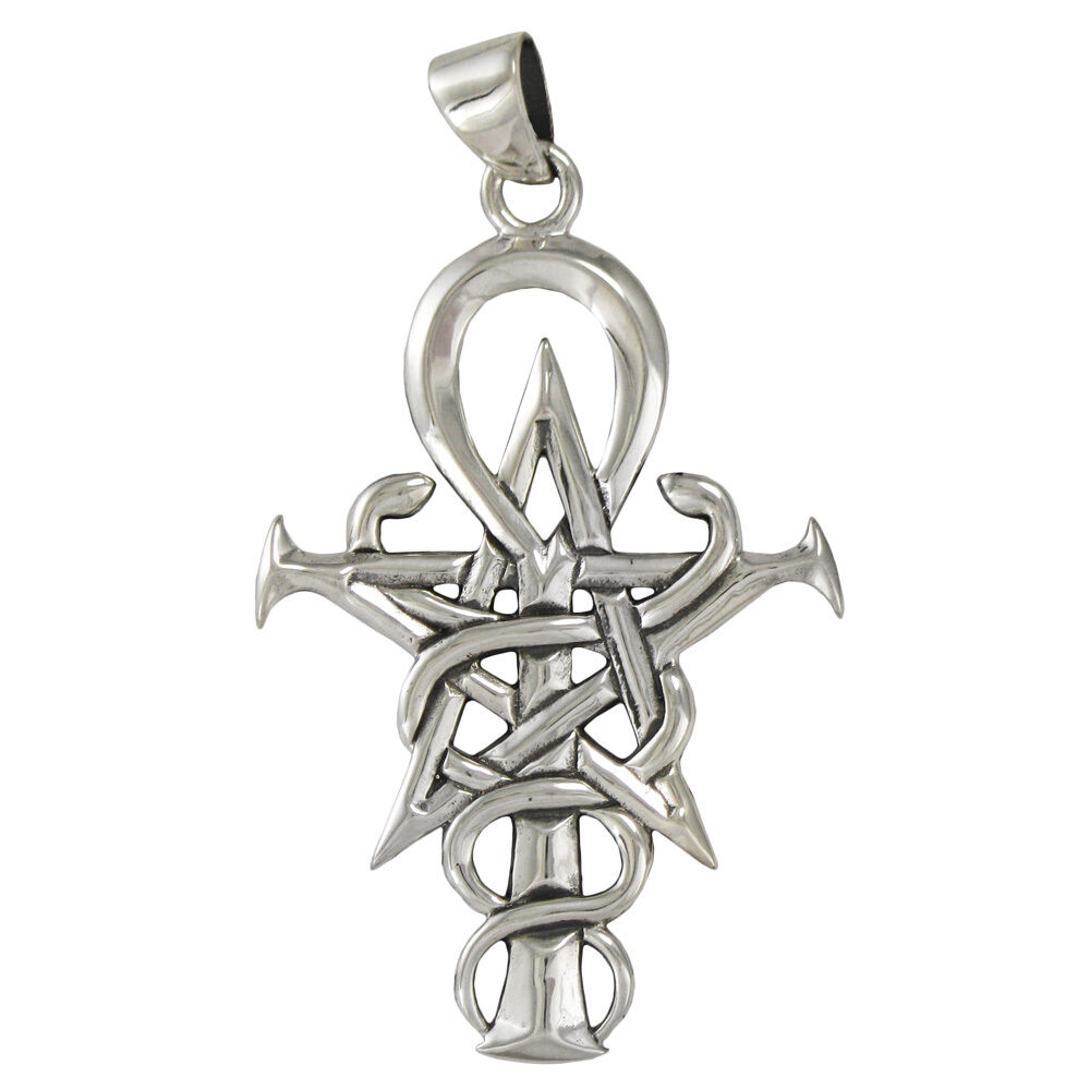 sterling silver pentacle caduceus ankh pendant wizardry