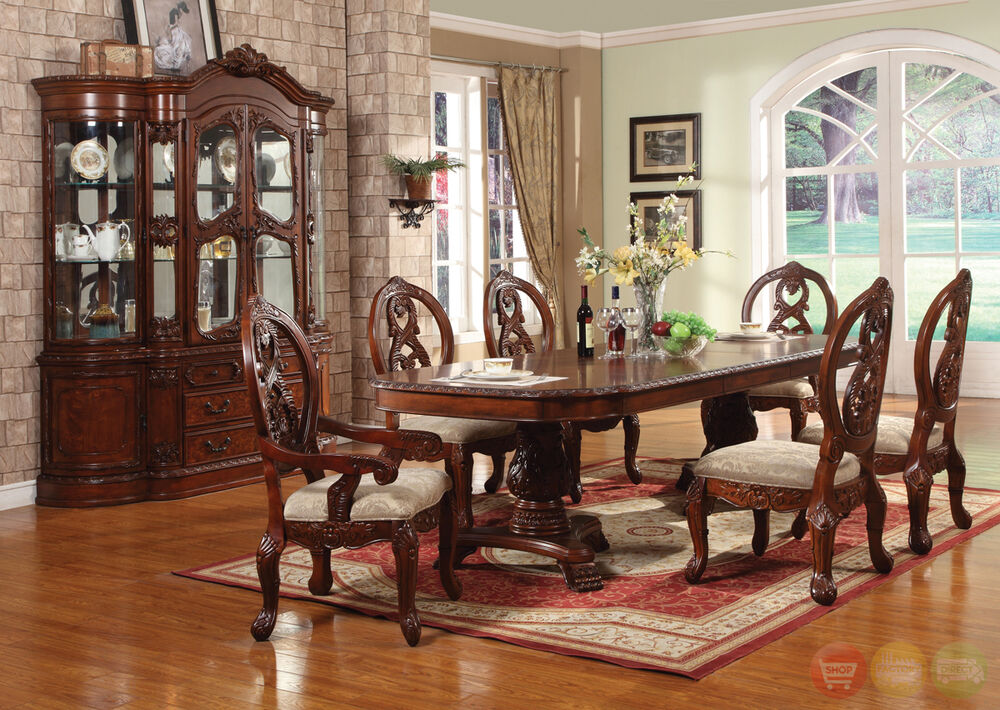 Windham carved traditional formal dining room set cherry for Classic dining room furniture