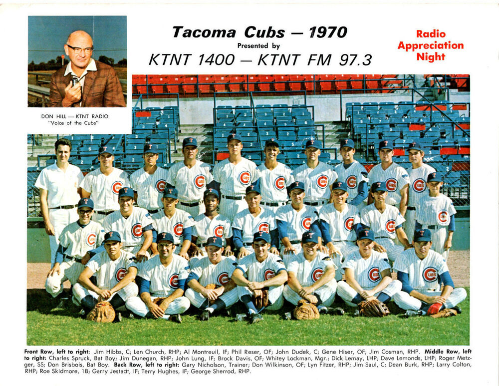1970 Tacoma Chicago Cubs Pcl Team 8x10 Photo Metzger