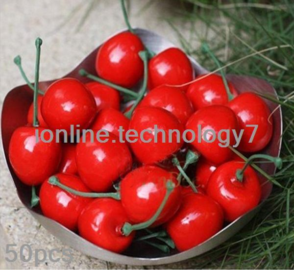 50 pcs fake small red cherry plastic artificial fruit for Artificial cherries decoration