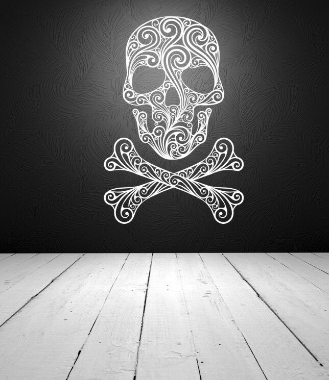 Sugar skull skull wall decal skull crossbones wall decal for Skull and crossbones tattoo