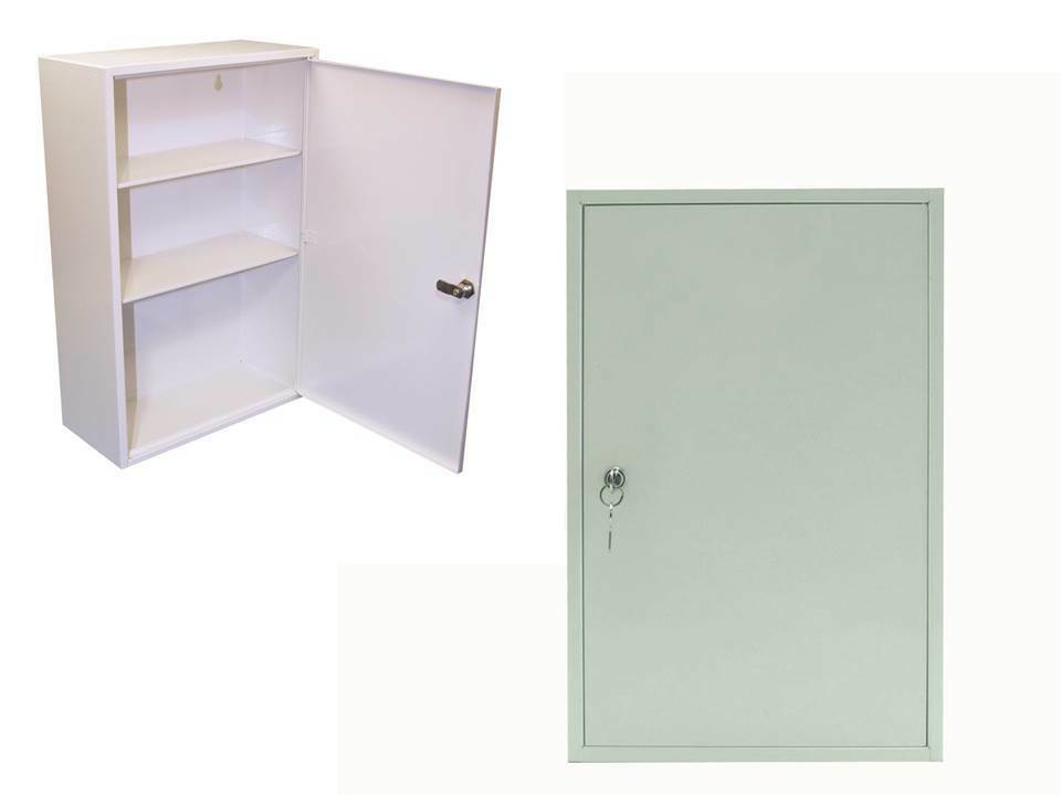deluxe metal first aid cabinet cupboard lockable wall mountable medicines white ebay. Black Bedroom Furniture Sets. Home Design Ideas