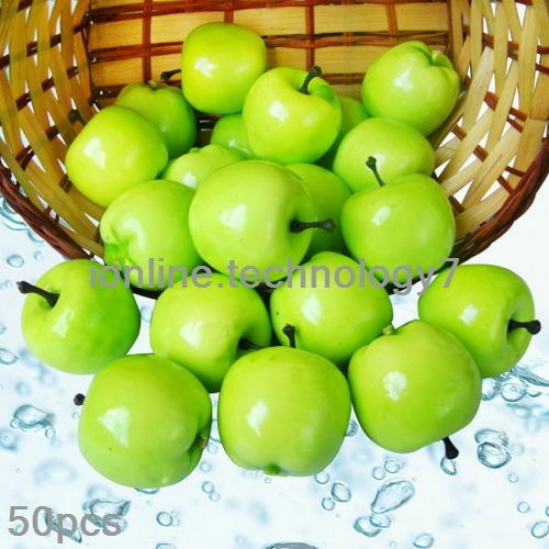 50 pcs fake green mini apples plastic artificial fruit for Apples for decoration