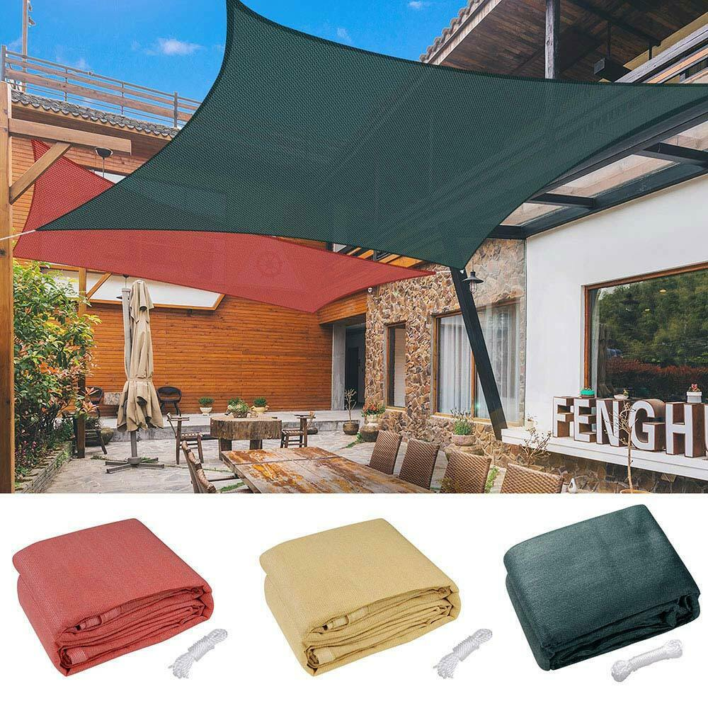 18 X18 Deluxe Square Sun Shade Sail Uv Top Cover Outdoor