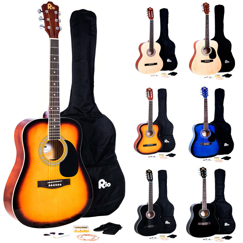 rio acoustic guitar starter package pack outfit full size beginner adult student ebay. Black Bedroom Furniture Sets. Home Design Ideas