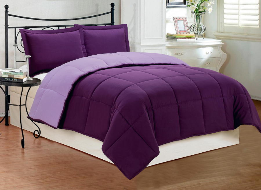 3 pc new down alternative reversible comforter set cal king size purple ebay. Black Bedroom Furniture Sets. Home Design Ideas
