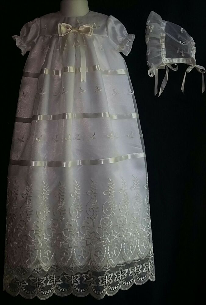 Baby Girl Embroidered Organza Christening Gown Baptism