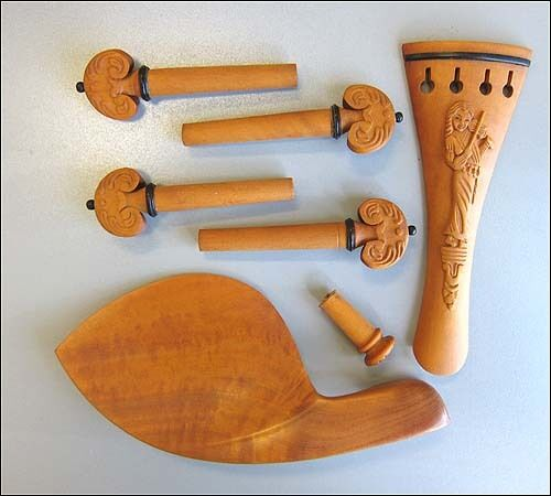 Hand carved boxwood violin parts pegs chinrest