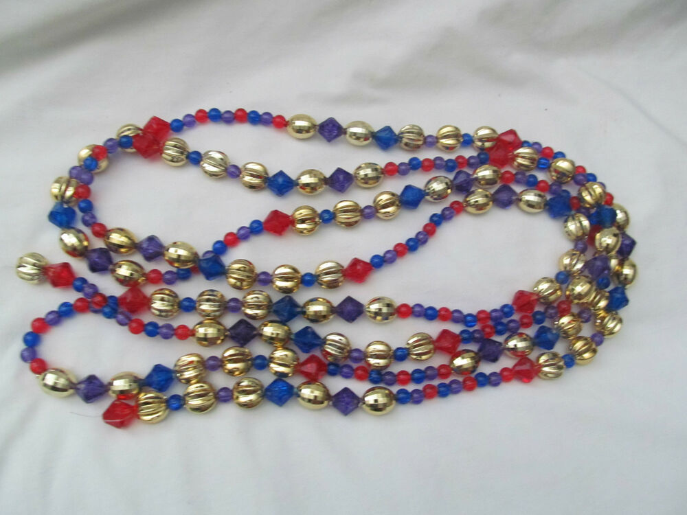 Beautiful beaded christmas tree garland gold red purple
