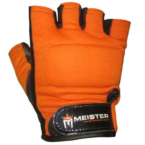 Weight Lifting Gloves Leather Fitness Gym Training Workout: ORANGE WEIGHT LIFTING WORKOUT LEATHER GLOVES Meister