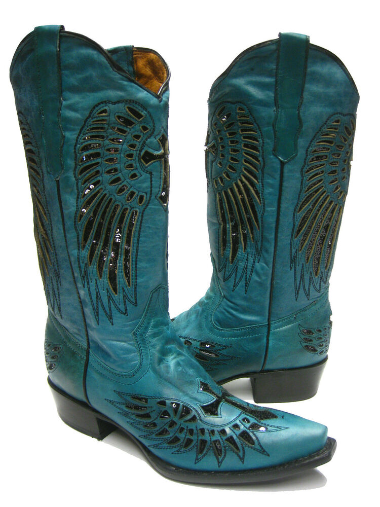 s turquoise leather western cowboy boots with