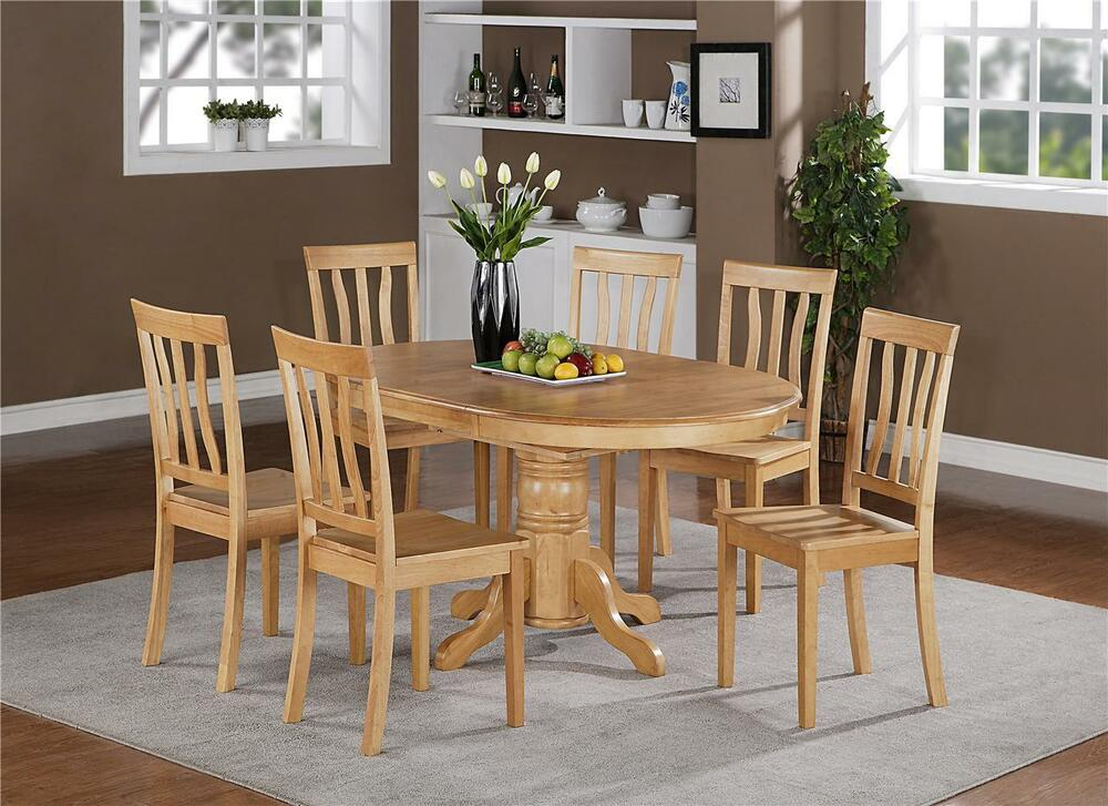 Wood Dinette Tables ~ Pc oval dinette kitchen dining set table with wood seat