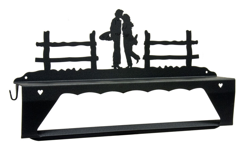 Country Kissing Black Metal Towel Bar And Shelf With Hooks