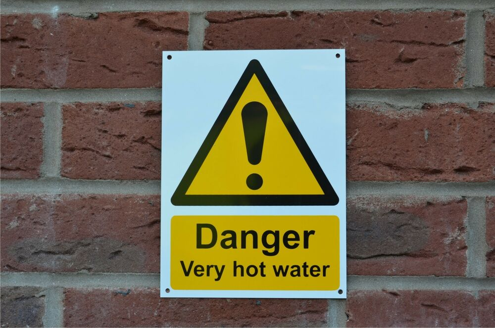 Hot Water Warning : Danger very hot water plastic sign or sticker mm