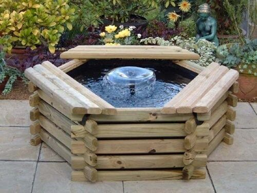 50 gallon pool with liner fountain new wooden garden for Water garden pond liners