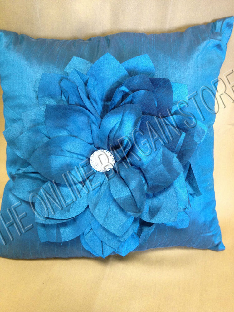 Frontgate Grandinroad Jeweled Flower Bloom Sofa Chair Bed Throw Pillow Teal 16