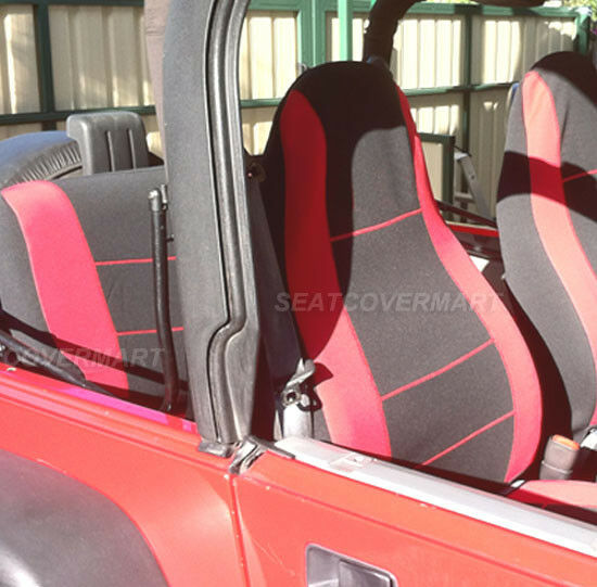 Jeep Wrangler 1993 1994 Neoprene Custom Red Black Car Seat
