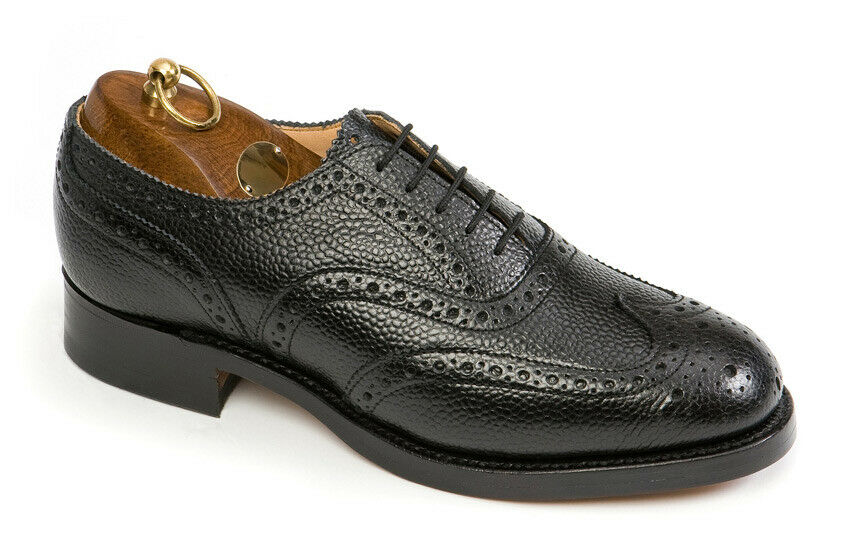Sanders Uk Made Leather Highland Brogue Shoes Black