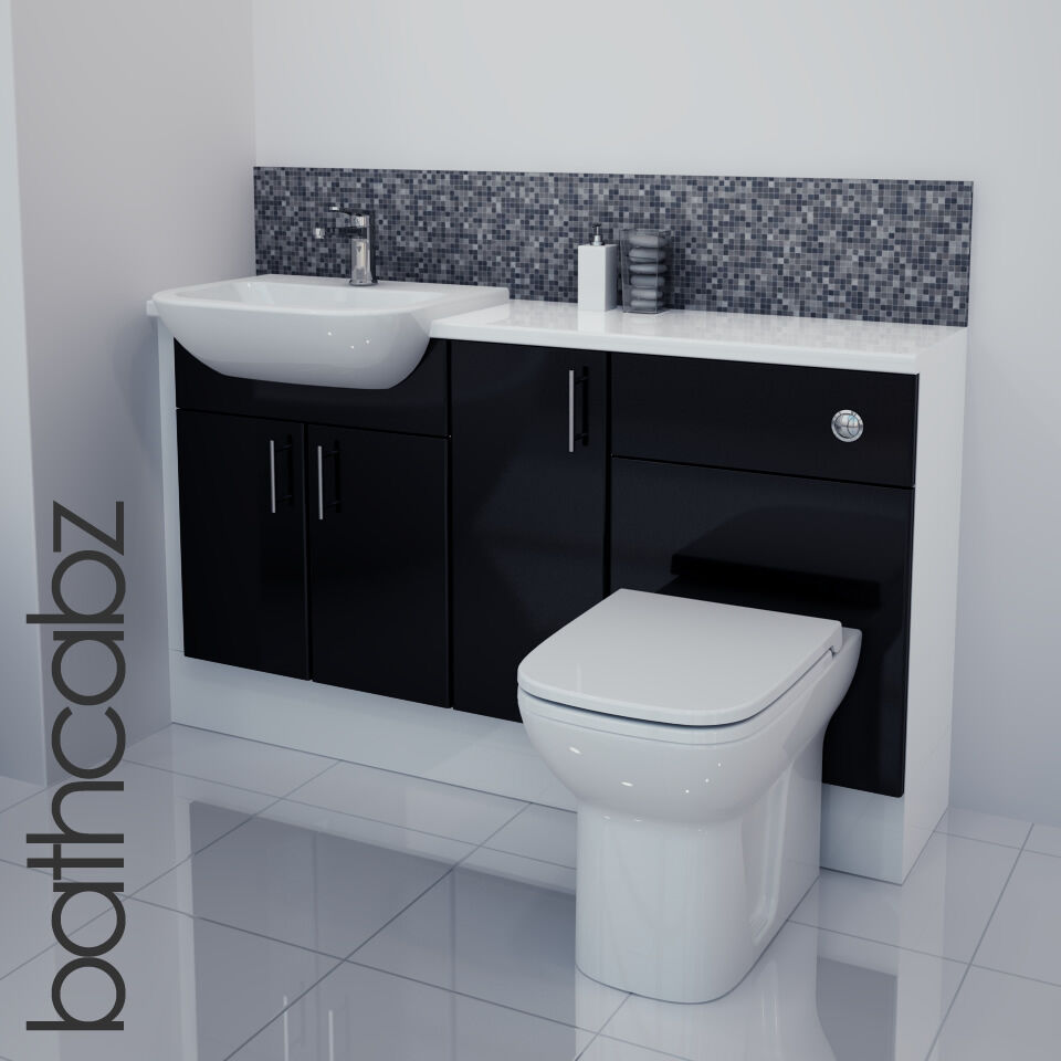fitted bathroom furniture white gloss black gloss bathroom fitted furniture 1400mm ebay 23154