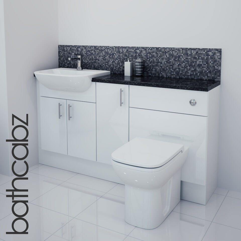 white gloss bathroom fitted furniture 1500mm ebay With fitted bathroom furniture white gloss