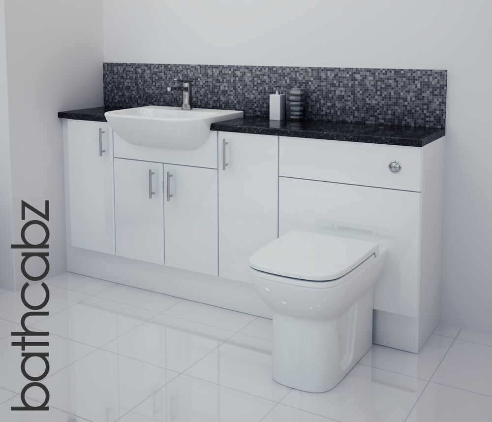 fitted bathroom furniture white gloss white gloss bathroom fitted furniture 1800mm ebay 23154