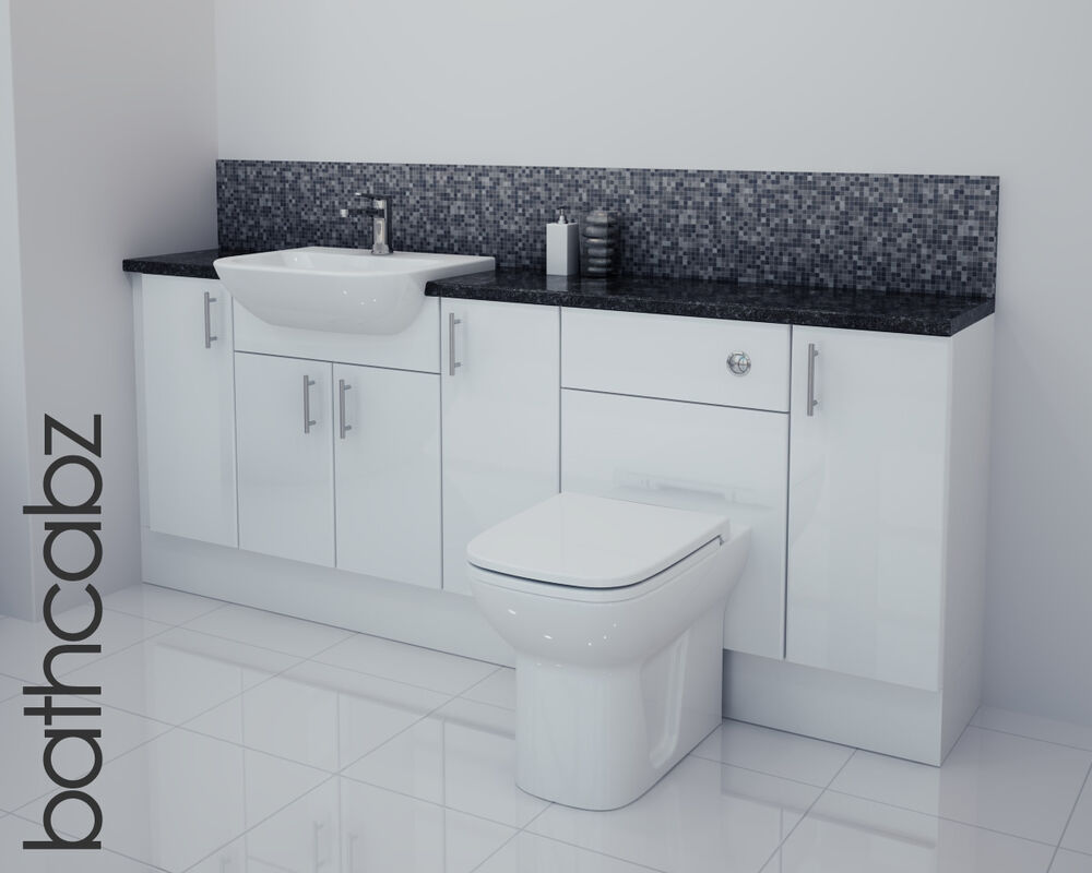 white gloss bathroom fitted furniture 2000mm ebay. Black Bedroom Furniture Sets. Home Design Ideas