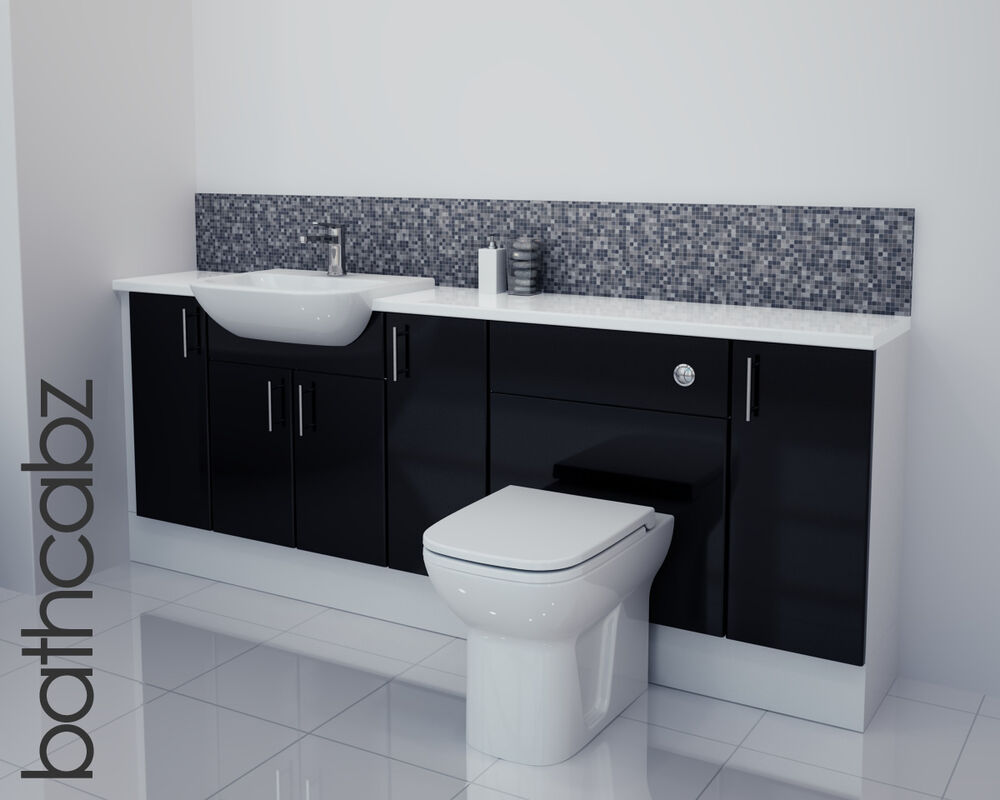 fitted bathroom furniture white gloss black gloss bathroom fitted furniture 2100mm ebay 23154