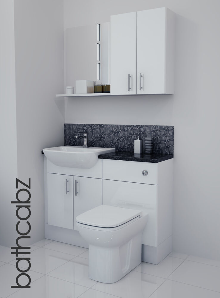 White Gloss Bathroom Fitted Furniture 1100mm With Wall Units Mirror Ebay