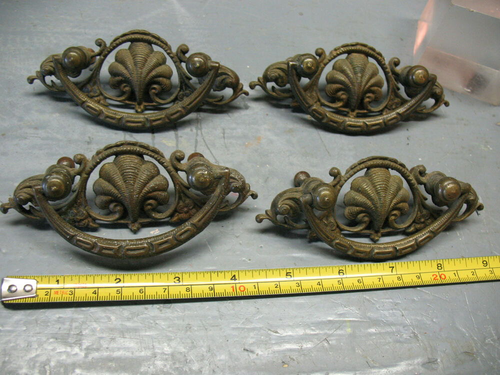 Antique Nouveau Drawer Pulls 4 Cast Brass Orig Complete
