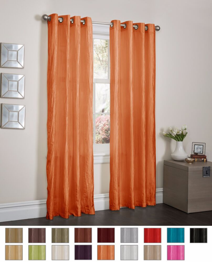 ORANGE CRUSHED SATIN WINDOW CURTAIN PANEL WITH 8 GROMMETS