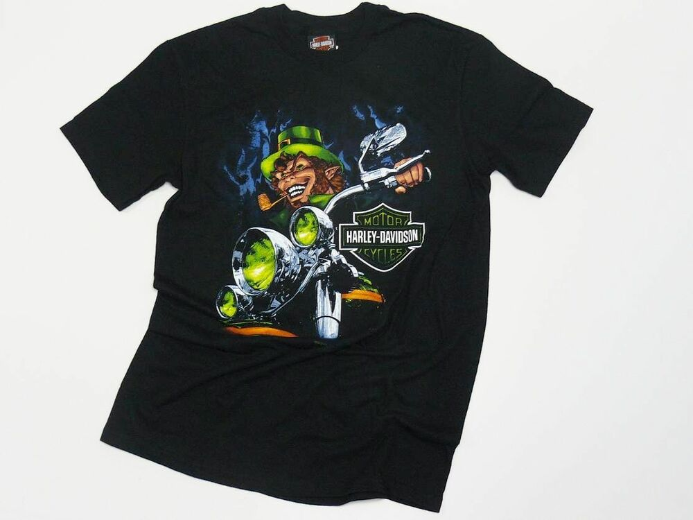 dublin harley davidson evil leprechaun rider t shirt ebay. Black Bedroom Furniture Sets. Home Design Ideas
