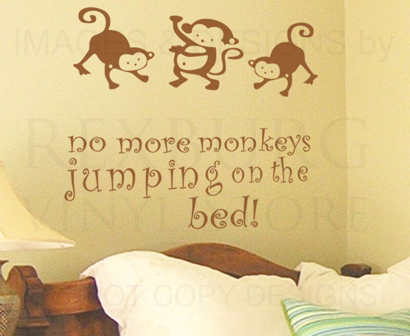 wall decal sticker quote vinyl art large no more monkey 39 s. Black Bedroom Furniture Sets. Home Design Ideas
