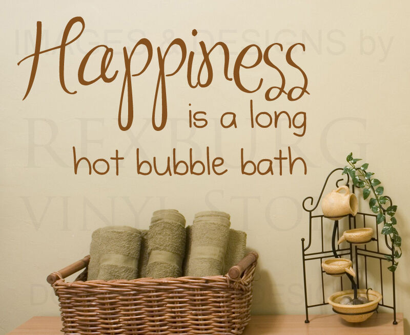 Wall decal sticker quote vinyl art happiness is a hot for Bathroom wall decor quotes