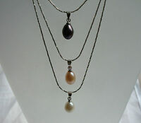 Beautiful Elegent Real Fresh Water Pearl Pendant Necklace  In Different Colours