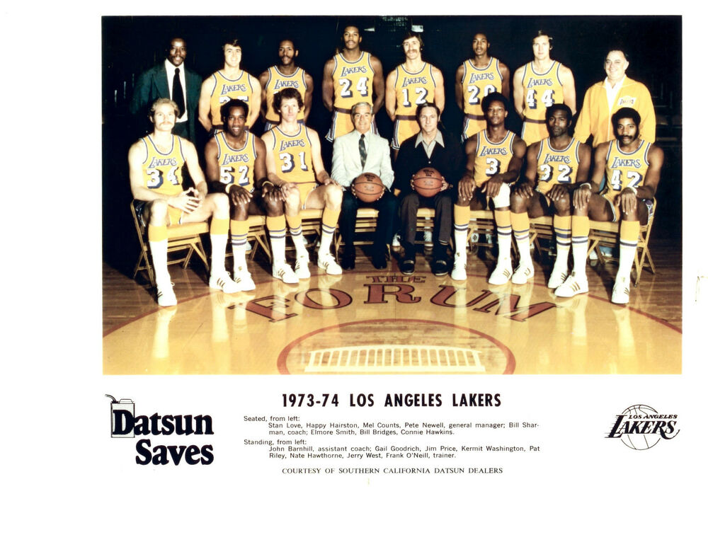 Nba Basketball Los Angeles Lakers: 1973 1974 LOS ANGELES LAKERS 8X10 TEAM PHOTO WEST RILEY
