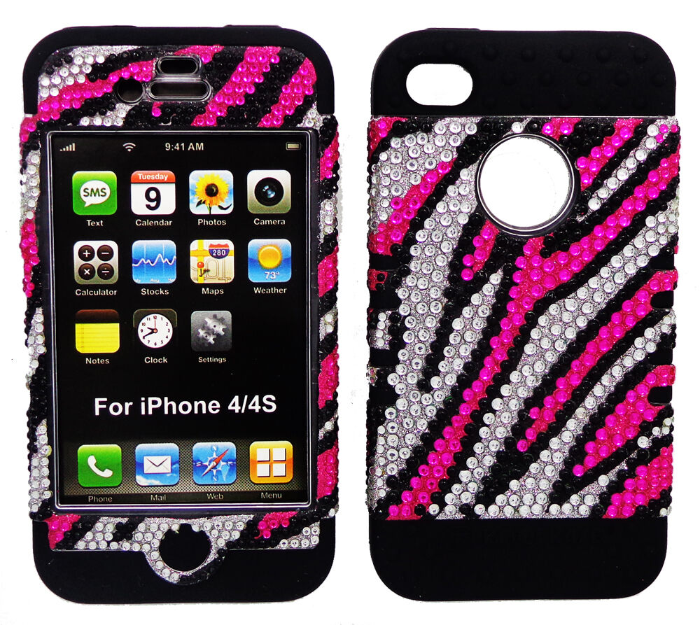 pink iphone 4 case pink zebra print cover black hybrid for 6665